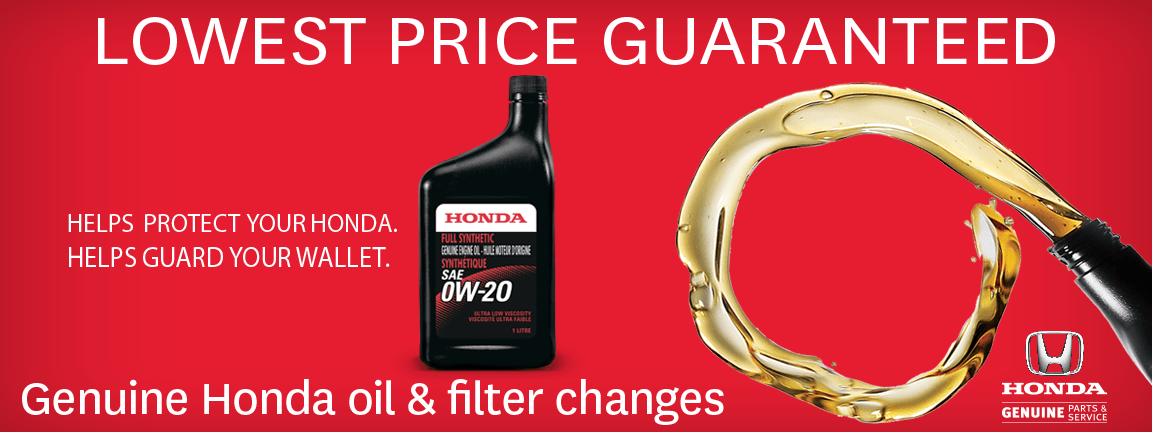 Lowest Price Guarantee On Genuine Honda Oil & Filter Changes